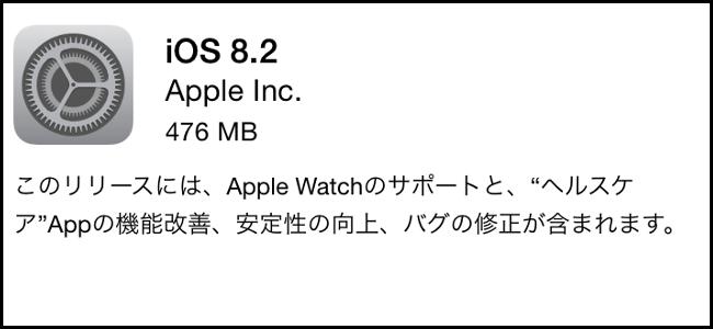 Apple Watchアプリが登場!「iOS 8.2」リリース!