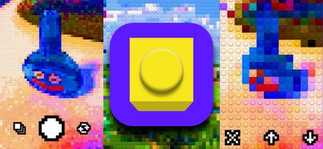 モザイクのように写るもの全てがブロックになる。GIFアニメも撮影できるカメラアプリ「Bricks Camera」