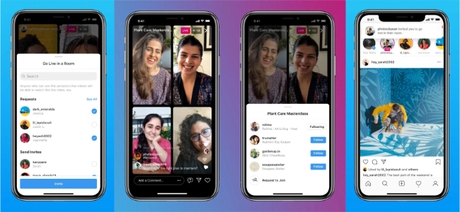 Instagramで最大4人まで一緒にLIVE配信ができる様に。新機能「Live Rooms」発表