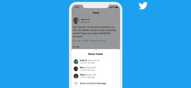 Twitterアプリで独自の共有メニューからすぐにDMでツイートを共有できるように