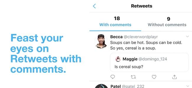 Twitterが公式iOSアプリでリツイートを、コメント付きとコメント無しを分けて表示するように
