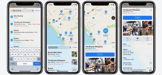 Appleが公式マップでシェアサイクルのステーション情報を提供開始