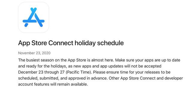 App Store Connectの年末ホリデーシーズンの受付休止期間が12月23日から27日までと発表