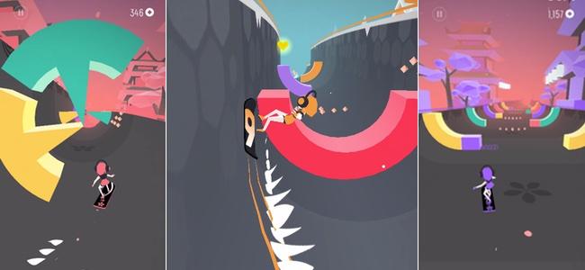 美しいグラフィックと快適な操作性の虜。同じ色のブロックを破壊しながらゴールを目指すスノーボードアクション「Flip:Surfing Colors」