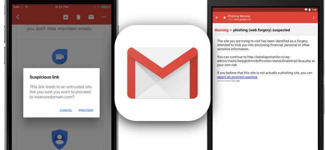 Gmailアプリがフィッシング対策のセキュリティチェックを開始。不審なリンクをタップした場合に警告を表示
