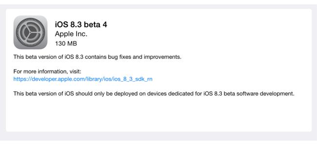 Appleが開発者に向けiOS 8.3 beta 4をリリース、変更点はこんな感じに