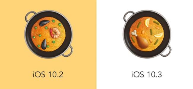 パエリアが発祥地の食材に、竹の枝の位置がリアルに、バニーのオッサンが太ましく。iOS 10.3で実は変更されてた絵文字たち