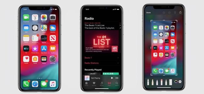 iOS 13のスクリーンショットとした画像が投稿される。Musicアプリや画像編集画面でダークモードが展開