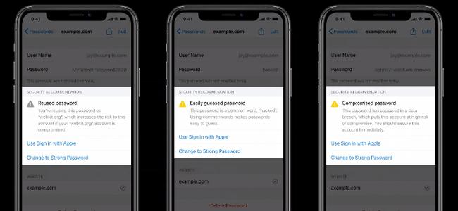 iOS 14ではiCloud Keychainが進化し、推測しやすいパスワードなどの使用や、漏洩可能性時に警告をだしてくれる様に