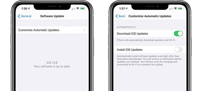iOS 13.6からはOSアップデートを自動でダウンロードはしておくけどインストールはしない、が可能に