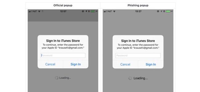 iOS端末でApple IDのパスワード入力画面を偽装し盗むフィッシング詐欺が可能と開発者が指摘