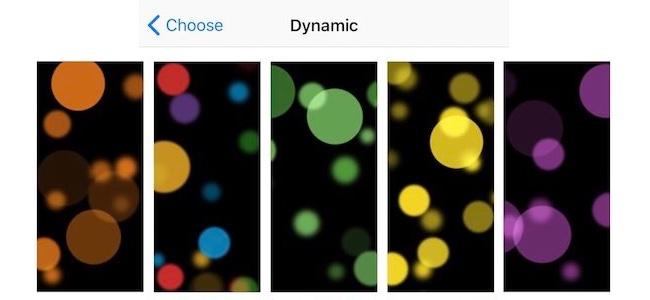 iPhone X専用に追加されるダイナミック壁紙は7種類になる模様。いずれも有機ELディスプレイの影響を思わせる黒ベース