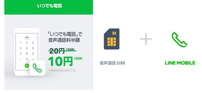 LINEモバイルが音声通話SIMユーザーの通話料金を半額にするアプリ「いつでも電話」をリリース