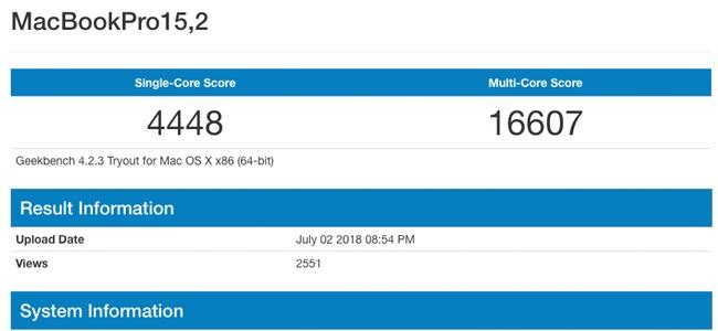 未発表の新型MacBook Pro 13インチのものとみられるベンチマーク結果がGeekbenchに登場。第8世代「Coffee Lake」CPU搭載か