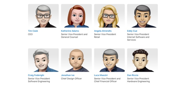 世界絵文字デーに合わせてApple公式サイトの役員紹介ページの顔写真が全部Memojiに