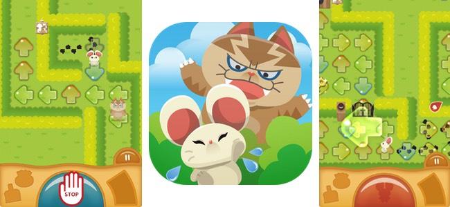 子供向けゲームっぽい見た目とは裏腹に大人まで本気で挑める本格派パズル「みちびきパズル〜にげネズミといじわるネコ〜」