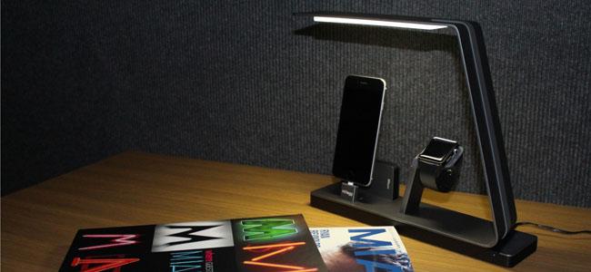 Apple WatchとiPhoneを同時に充電できるLEDデスクライト「NuDock」