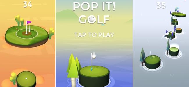 頼れるのは己の感覚のみ。ボタンの様な島を押し込んだ分だけボールを飛ばす、常に一発勝負のカジュアルゴルフ「ポップショット!ゴルフ」