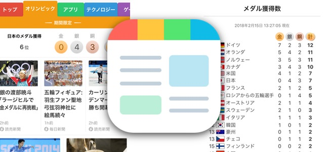 「スマートニュース」がオリンピック情報専用チャンネルを開設中。メダルの獲得数表示を常設