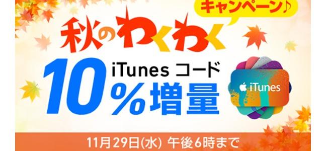 ソフトバンクがiTunesコード10%増量キャンペーンを実施。2017年11月29日(水)18時まで