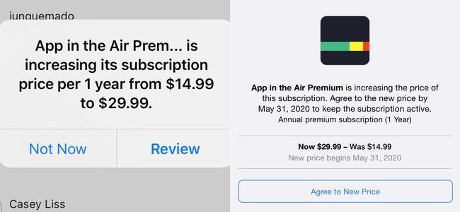 iOS/iPadOSで利用中のサブスクリプションの価格が上がった際に警告が表示されるように