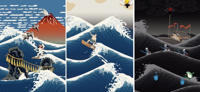 「乗るしかない、このびっぐうぇ〜ぶに」北斎のあの浮世絵の波が動く!波に乗る!次々迫りくる波を華麗に飛び越えるアクションゲーム「うきよウェーブ」