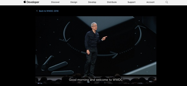 AppleがWWDC2018の動画に文字起こし文章を追加。文章をクリックでその場所に動画ジャンプも可能に