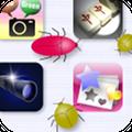 「虫バトルアイコン」を使ってアプリをタップすると…?うじゃうじゃうじゃ〜!