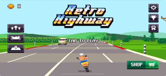 ドット絵による見事な奥行き表現が懐かしい。逆走もなんのその、ひたすら車の間を縫って走り続けるバイクレース「Retro Highway」