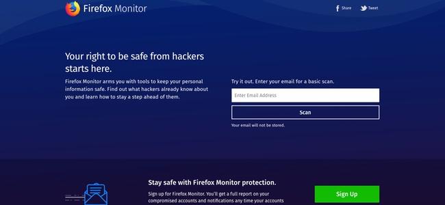 メールアドレスを入力すると、そのメールが情報の流出被害にあっていないか確認できるサイト「Firefox Monitor」が登場