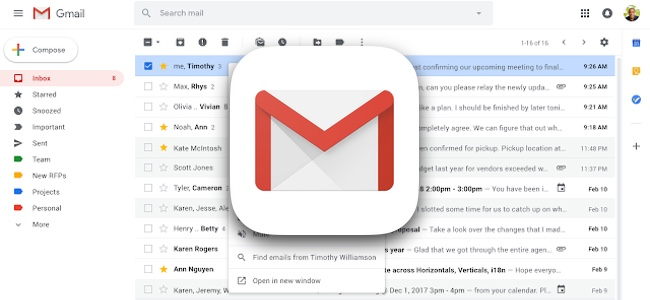 PC版Gmailで右クリックメニューが大幅に追加。返信や転送、検索などが簡単にできるように