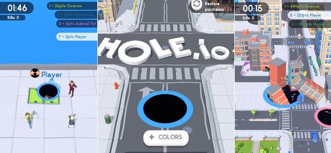 「Hole.io」レビュー。操作する自機はなんでも落ちる「穴」!小さなモノから始まり飲み込むものをどんどん大きくして最後はビルまで落とせちゃうパズルアクション