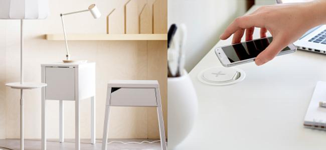 IKEAがワイヤレス充電器が内蔵された電気スタンドやテーブルなどを発売!