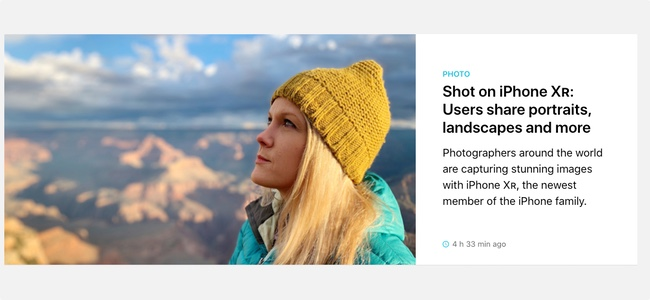 AppleがiPhone XRで撮影しInstagramに投稿されたユーザーの写真を公式サイトで紹介