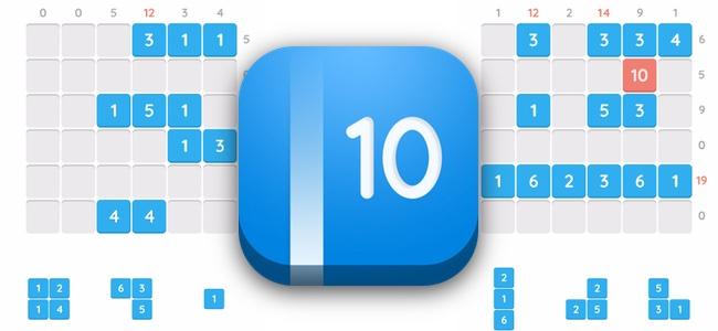 縦横の数字の合計を10にして消していくだけ。簡単な計算なはずなのに頭を使う、凡ミス一つで悔しさ全開のパズル「Make 10」