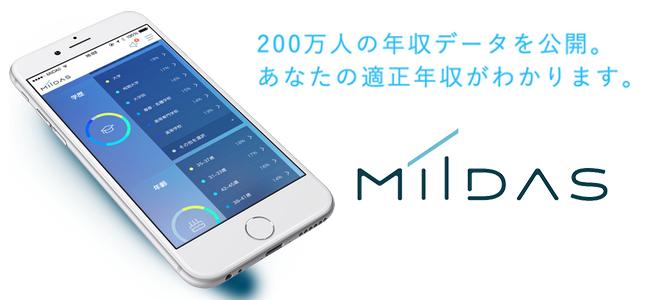 より良い転職の前にまずは正しい自分の診断を!自分のあるべき年収がわかる、探される転職アプリ「MIIDAS」