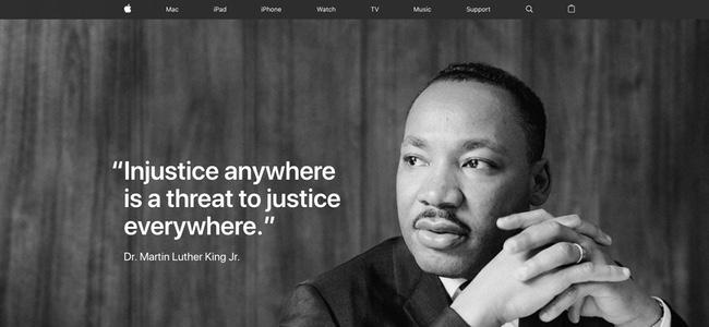 アメリカのApple公式サイトトップがマーチン・ルーサー・キング牧師に敬意を表する特別仕様に