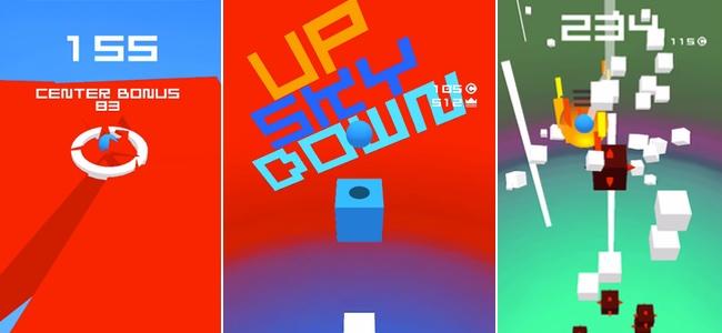 一気に落下する浮遊感とギリギリまでブロックを連続して破壊する爽快感が気持ちいい「Up Sky Down」